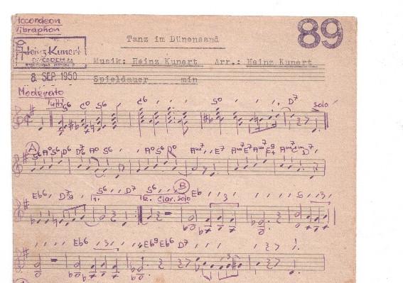 Heinz Kunert, Tanz im Dünensand, 1950, Notenstimme für Akkordeon